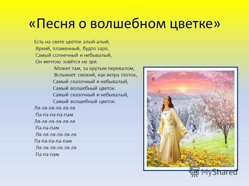 Слова песни волшебный цветок