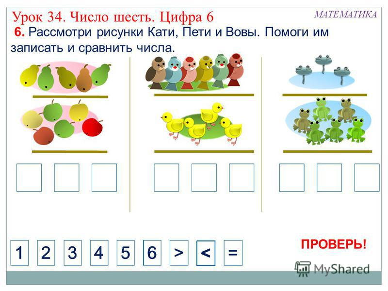 < 1234>=65=5=5 < 1234>=566 МАТЕМАТИКА Урок 34. Число шесть. Цифра 6 6. Рассмотри рисунки Кати, Пети и Вовы. Помоги им записать и сравнить числа. ПРОВЕРЬ!