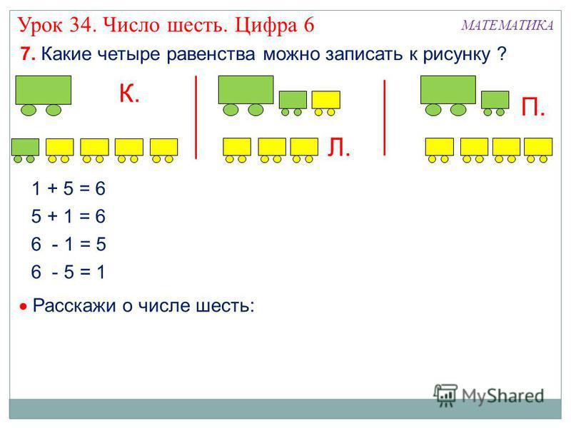 7. Какие четыре равенства можно записать к рисунку ? К. МАТЕМАТИКА 1 + 5 = 6 5 + 1 = 6 6 - 1 = 5 6 - 5 = 1 Л. П. Расскажи о числе шесть: Урок 34. Число шесть. Цифра 6