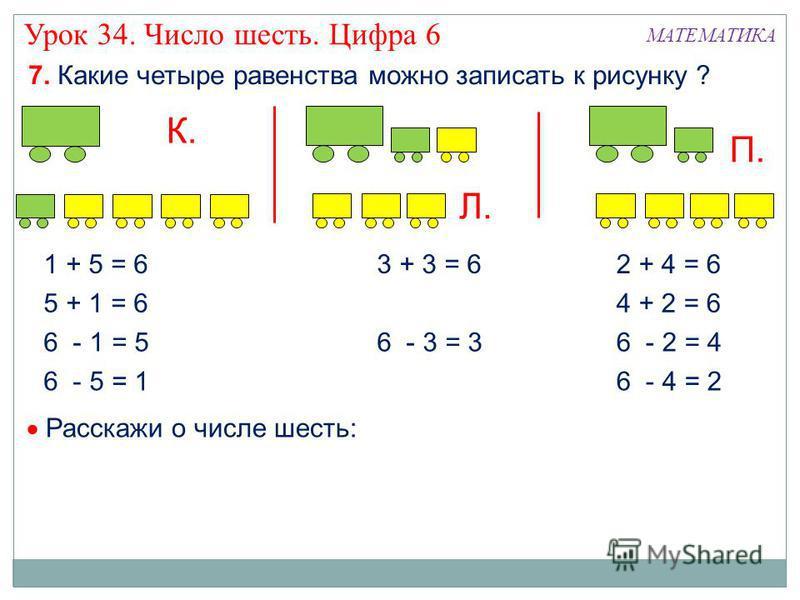 7. Какие четыре равенства можно записать к рисунку ? К. МАТЕМАТИКА 1 + 5 = 6 5 + 1 = 6 6 - 1 = 5 6 - 5 = 1 3 + 3 = 6 6 - 3 = 3 Л. П. 2 + 4 = 6 4 + 2 = 6 6 - 2 = 4 6 - 4 = 2 Расскажи о числе шесть: Урок 34. Число шесть. Цифра 6