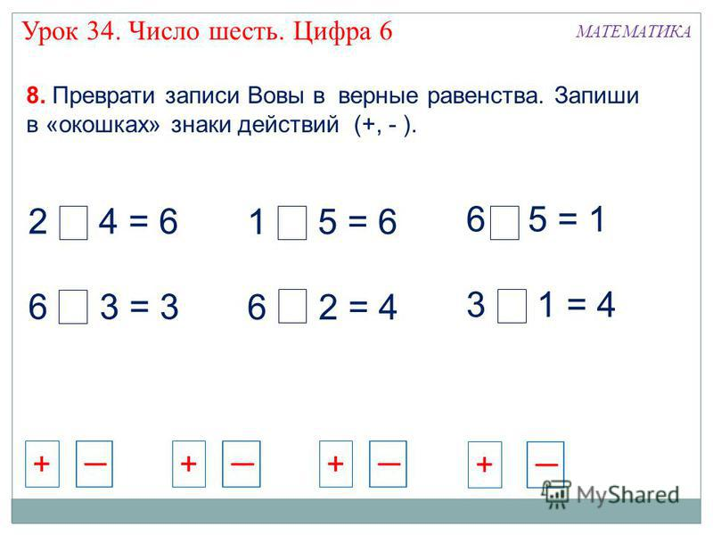 2 + 4 = 6 6 - 3 = 3 1 + 5 = 6 6 - 2 = 4 6 - 5 = 1 3 + 1 = 4 8. Преврати записи Вовы в верные равенства. Запиши в «окошках» знаки действий (+, - ). МАТЕМАТИКА +++ + Урок 34. Число шесть. Цифра 6