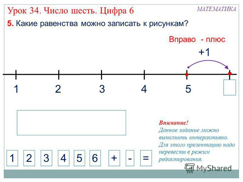 1324 МАТЕМАТИКА 1234+-= Внимание! Данное задание можно выполнить интерактивно. Для этого презентацию надо перевести в режим редактирования. 5. Какие равенства можно записать к рисункам? 5 Вправо - плюс Урок 34. Число шесть. Цифра 6 5 6 +1
