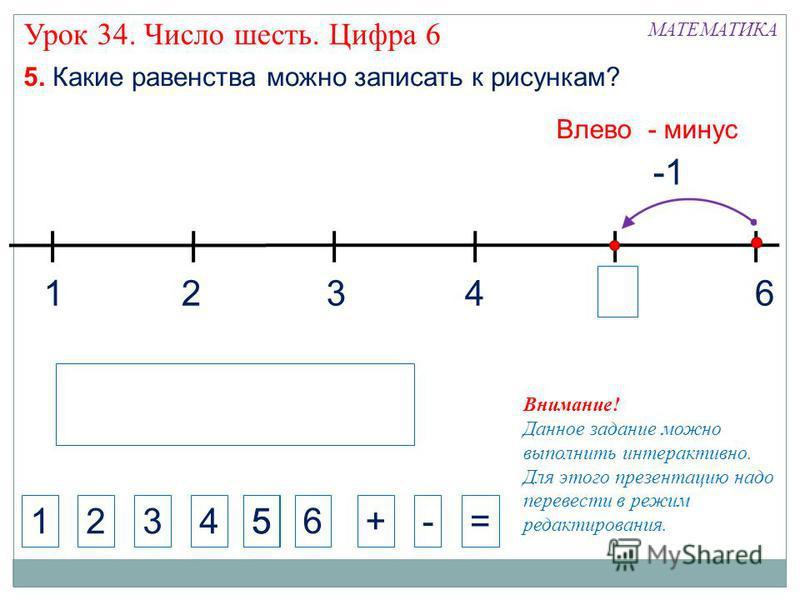 1324 МАТЕМАТИКА 1234+-= 5. Какие равенства можно записать к рисункам? 5 Влево - минус Урок 34. Число шесть. Цифра 6 6 65 Внимание! Данное задание можно выполнить интерактивно. Для этого презентацию надо перевести в режим редактирования.