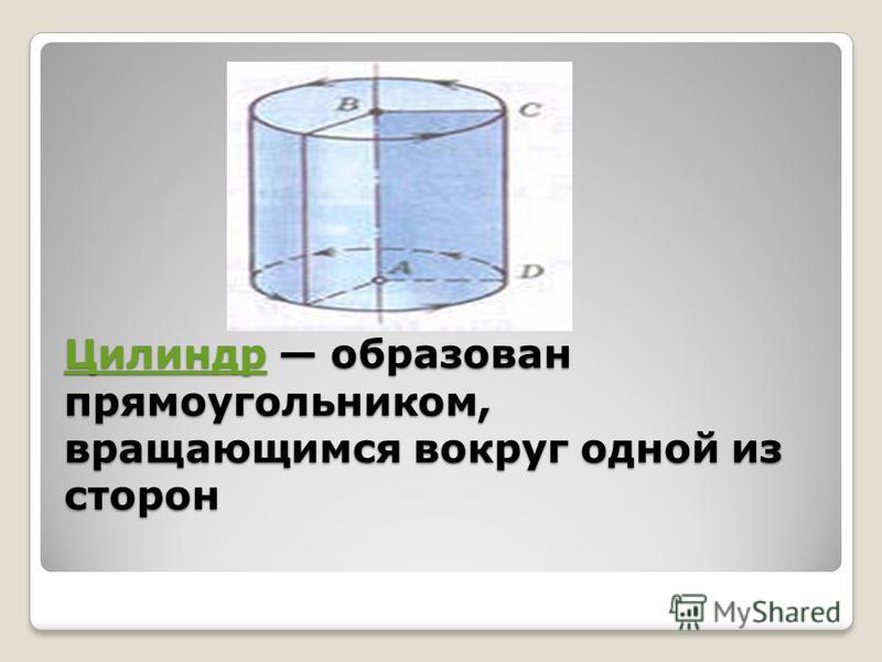 Цилиндр Цилиндр образован прямоугольником, вращающимся вокруг одной из сторон Цилиндр