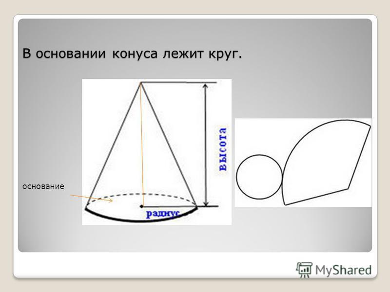 В основании конуса лежит круг. основание