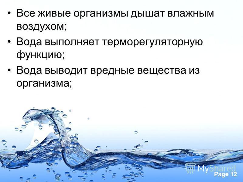 Page 12 Все живые организмы дышат влажным воздухом; Вода выполняет терморегуляторную функцию; Вода выводит вредные вещества из организма;