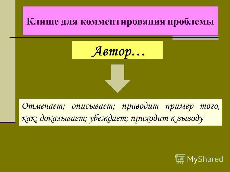 Автор… Клише для комментирования проблемы Отмечает; описывает; приводит пример того, как; доказывает; убеждает; приходит к выводу