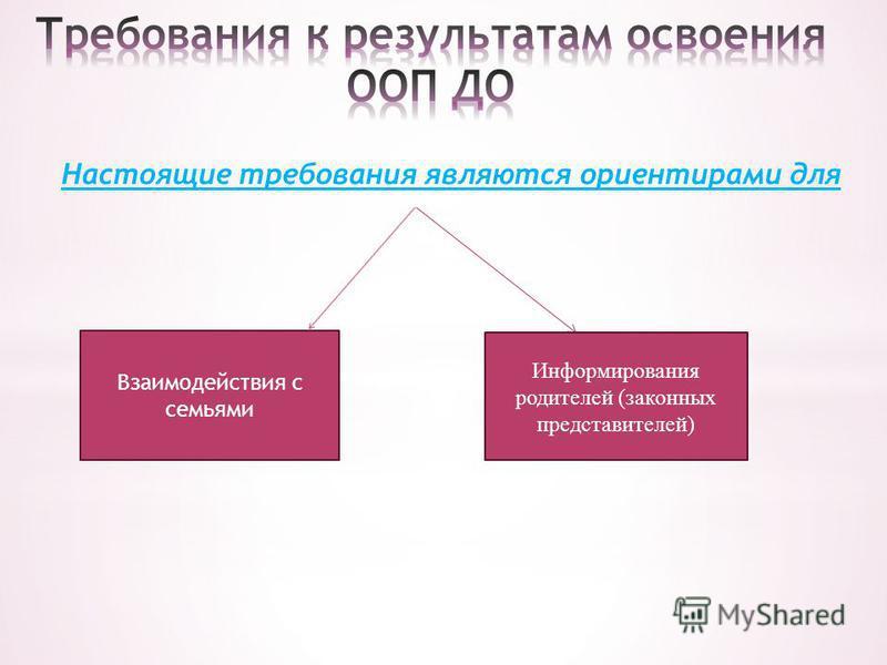 Настоящие требования являются ориентирами для Взаимодействия с семьями Информирования родителей (законных представителей)