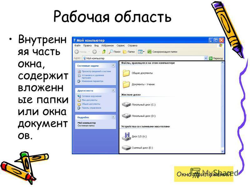 Рабочая область Внутренн яя часть окна, содержит вложенные папки или окна документ ов. Окна приложений