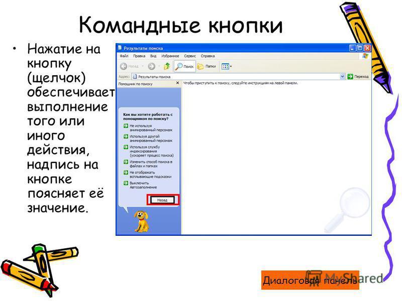 Командные кнопки Нажатие на кнопку (щелчок) обеспечивает выполнение того или иного действия, надпись на кнопке поясняет её значение. Диалоговая панель