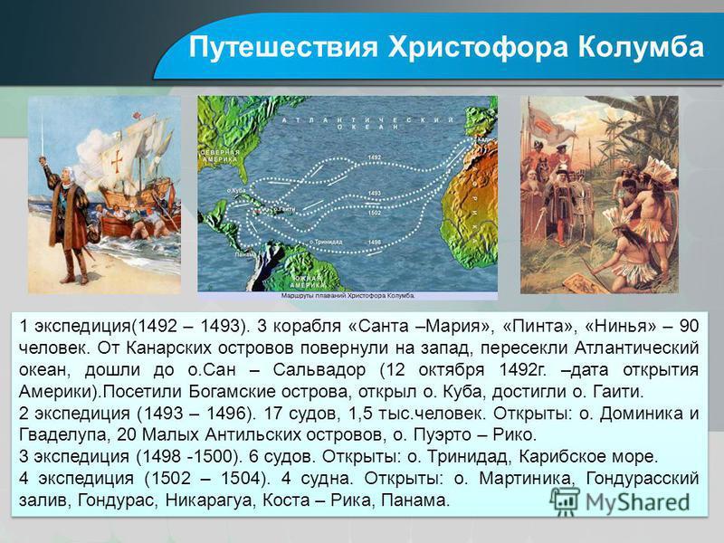 Путешествия Христофора Колумба 1 экспедиция(1492 – 1493). 3 корабля «Санта –Мария», «Пинта», «Нинья» – 90 человек. От Канарских островов повернули на запад, пересекли Атлантический океан, дошли до о.Сан – Сальвадор (12 октября 1492 г. –дата открытия