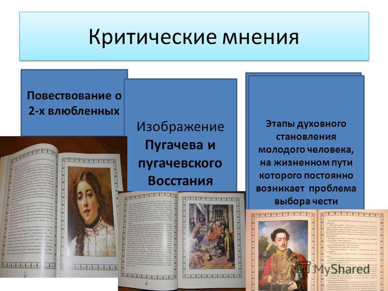 Критические мнения Повествование о 2-х влюбленных Изображение Пугачева и пугачевского Восстания Этапы духовного становления молодого человека, на жизненном пути которого постоянно возникает проблема выбора чести