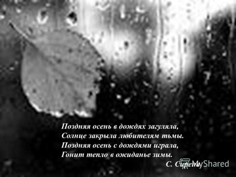 Поздняя осень в дождях загуляла, Солнце закрыла любителям тьмы. Поздняя осень с дождями играла, Гонит тепло в ожиданье зимы. С. Сирена