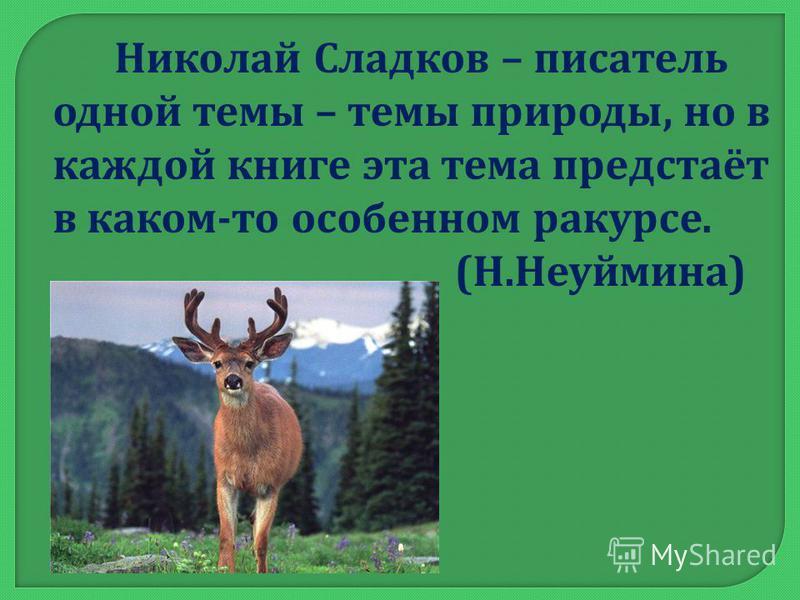 Николай Сладков – писатель одной темы – темы природы, но в каждой книге эта тема предстаёт в каком - то особенном ракурсе. ( Н. Неуймина )
