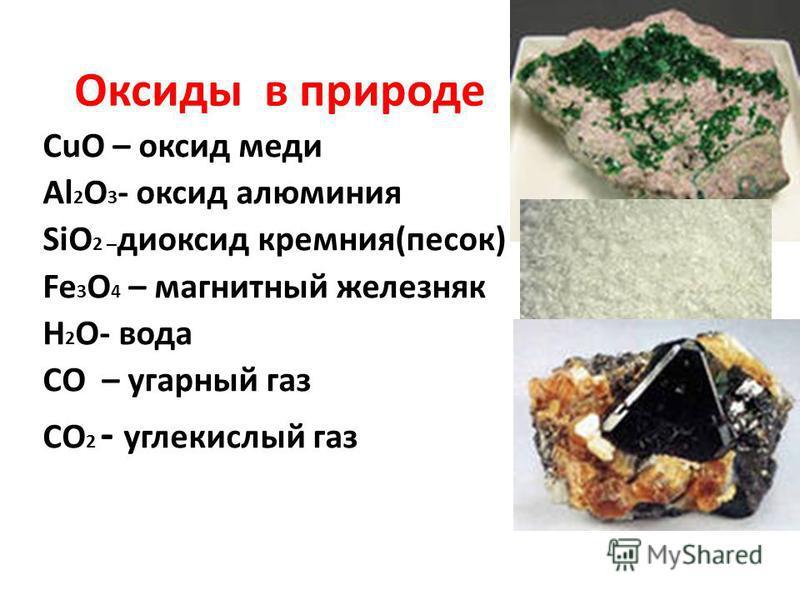 Оксиды в природе CuO – оксид меди Al 2 O 3 - оксид алюминия SiO 2 – диоксид кремния(песок) Fe 3 O 4 – магнитный железняк H 2 O- вода CO – угарный газ CO 2 - углекислый газ