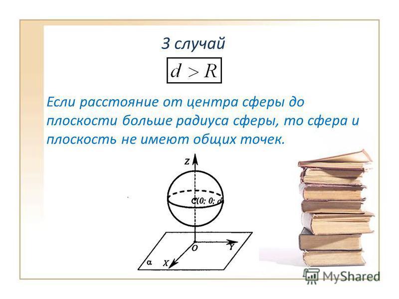 3 случай Если расстояние от центра сферы до плоскости больше радиуса сферы, то сфера и плоскость не имеют общих точек.