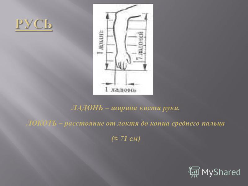 ЛАДОНЬ – ширина кисти руки. ЛОКОТЬ – расстояние от локтя до конца среднего пальца ( 71 см )