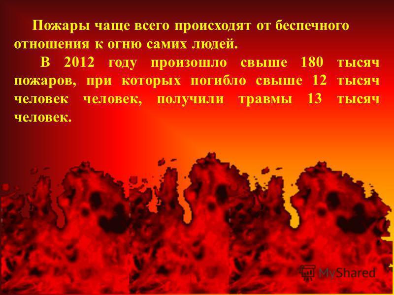 Пожары чаще всего происходят от беспечного отношения к огню самих людей. В 2012 году произошло свыше 180 тысяч пожаров, при которых погибло свыше 12 тысяч человек человек, получили травмы 13 тысяч человек.