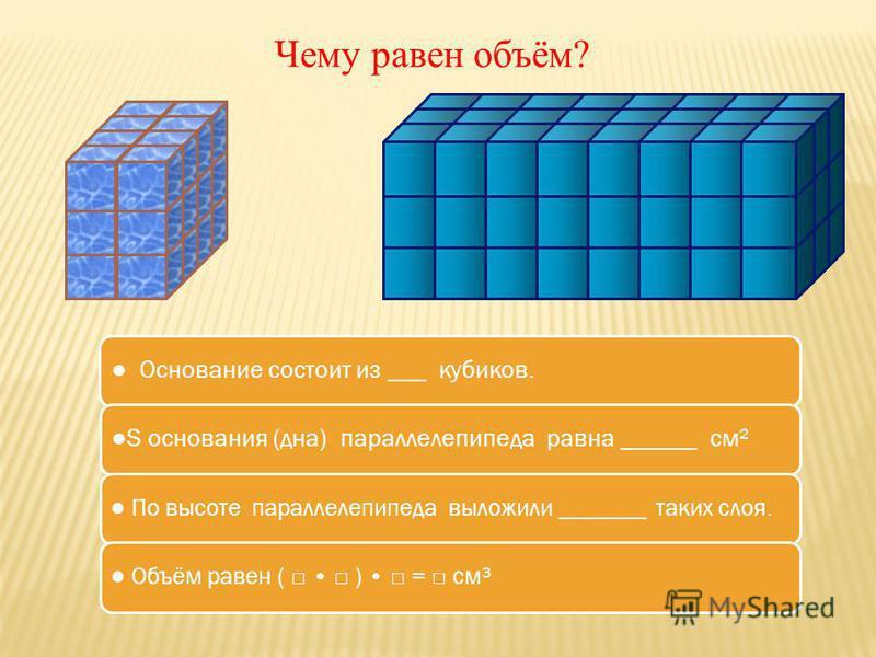 Чему равен объём? Основание состоит из ___ кубиков.S основания (дна) параллелепипеда равна ______ см² По высоте параллелепипеда выложили _______ таких слоя. Объём равен ( ) = см³