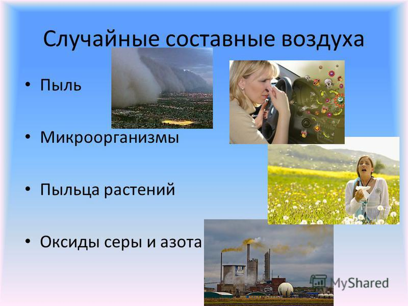 Случайные составные воздуха Пыль Микроорганизмы Пыльца растений Оксиды серы и азота