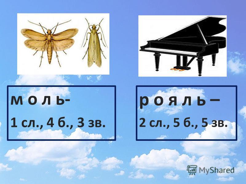 моль- 1 сл., 4 б., 3 зв. рояль – 2 сл., 5 б., 5 зв.