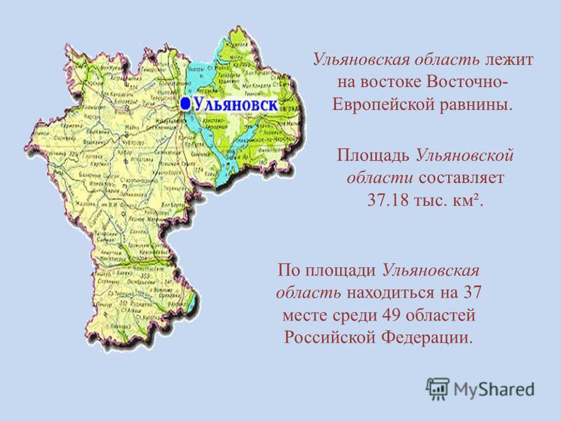Ульяновская область лежит на востоке Восточно- Европейской равнины. Площадь Ульяновской области составляет 37.18 тыс. км². По площади Ульяновская область находиться на 37 месте среди 49 областей Российской Федерации.
