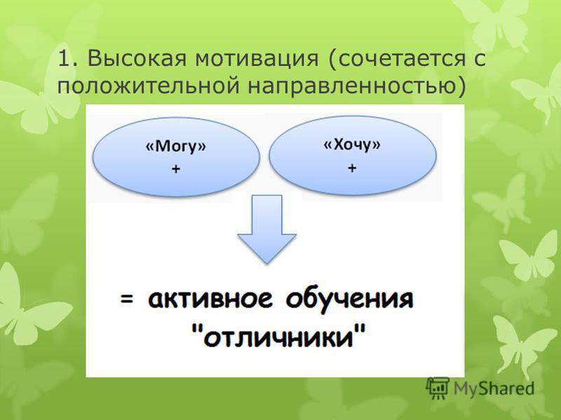 1. Высокая мотивация (сочетается с положительной направленностью)