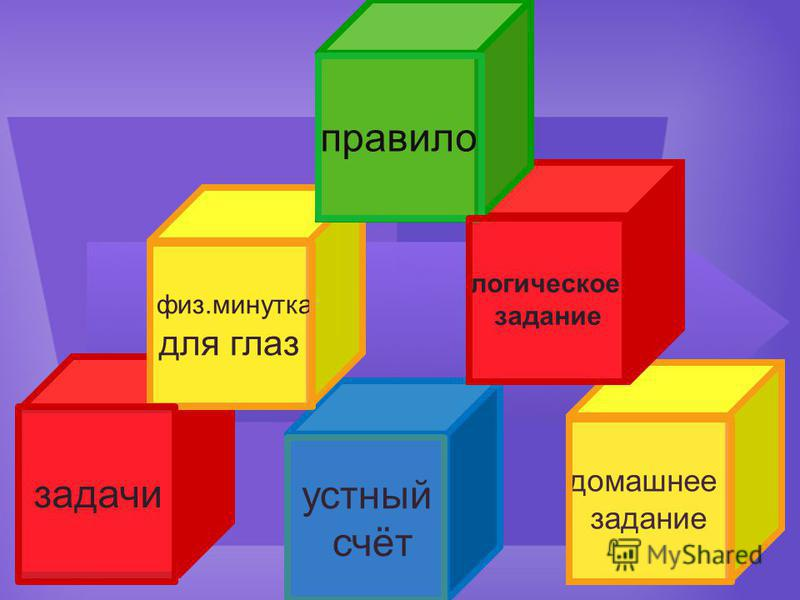 задачи устный счёт домашнее задание логическое задание физ.минутка для глаз правило