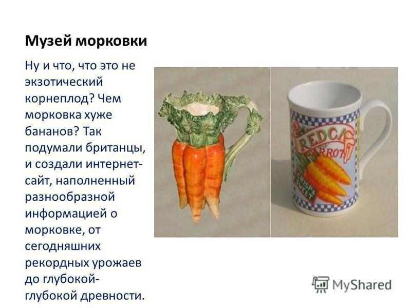 Музей морковки Ну и что, что это не экзотический корнеплод? Чем морковка хуже бананов? Так подумали британцы, и создали интернет- сайт, наполненный разнообразной информацией о морковке, от сегодняшних рекордных урожаев до глубокой- глубокой древности