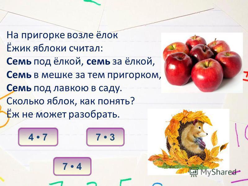 На пригорке возле ёлок Ёжик яблоки считал: Семь под ёлкой, семь за ёлкой, Семь в мешке за тем пригорком, Семь под лавкою в саду. Сколько яблок, как понять? Ёж не может разобрать. 7 3 7 4 4 7