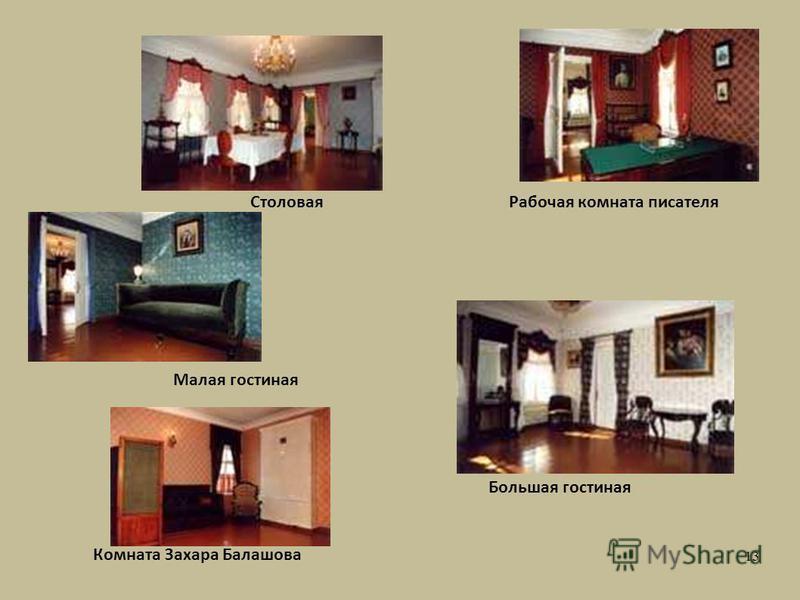Столовая Малая гостиная Большая гостиная Рабочая комната писателя Комната Захара Балашова 13