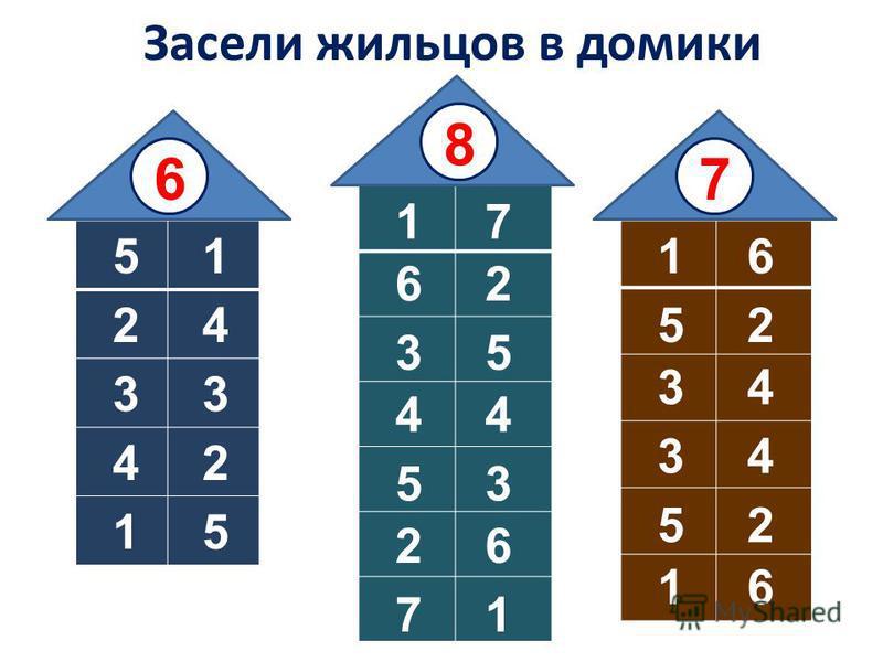 Засели жильцов в домики 1 2 3 4 5 67 1 2 3 4 8 5 6 7 1 2 3 4 5 6 5 4 3 2 1 3 5 7 6 4 2 1 6 5 4 3 2 1