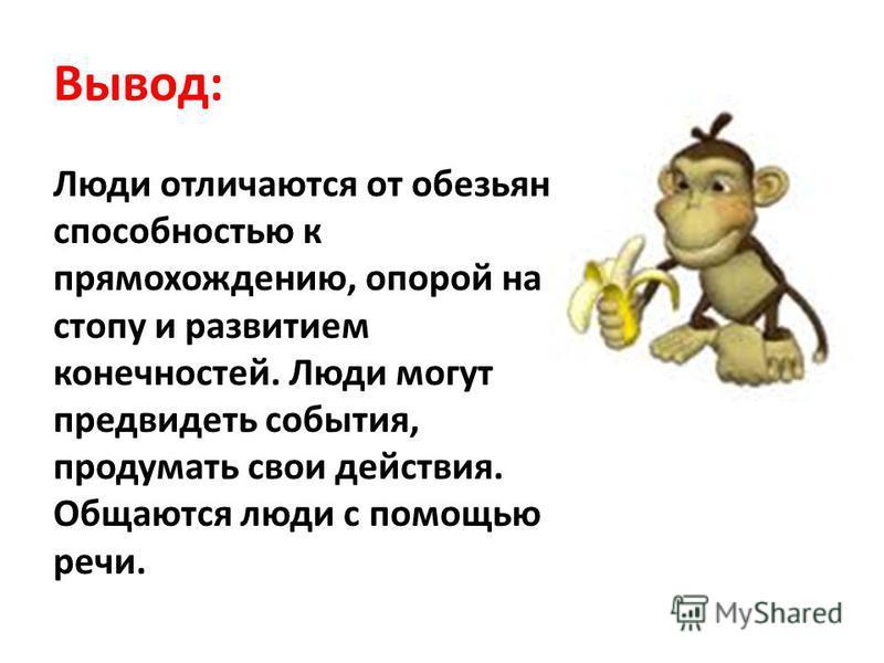 Вывод: Люди отличаются от обезьян способностью к прямохождению, опорой на стопу и развитием конечностей. Люди могут предвидеть события, продумать свои действия. Общаются люди с помощью речи.