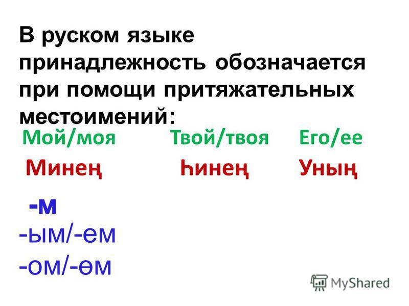 В русском языке принадлежность обозначается при помощи притяжательных местоимений: Мой/моя Твой/твоя Его/ее МинеңҺинеңУның -им/-ем -ом/-өм