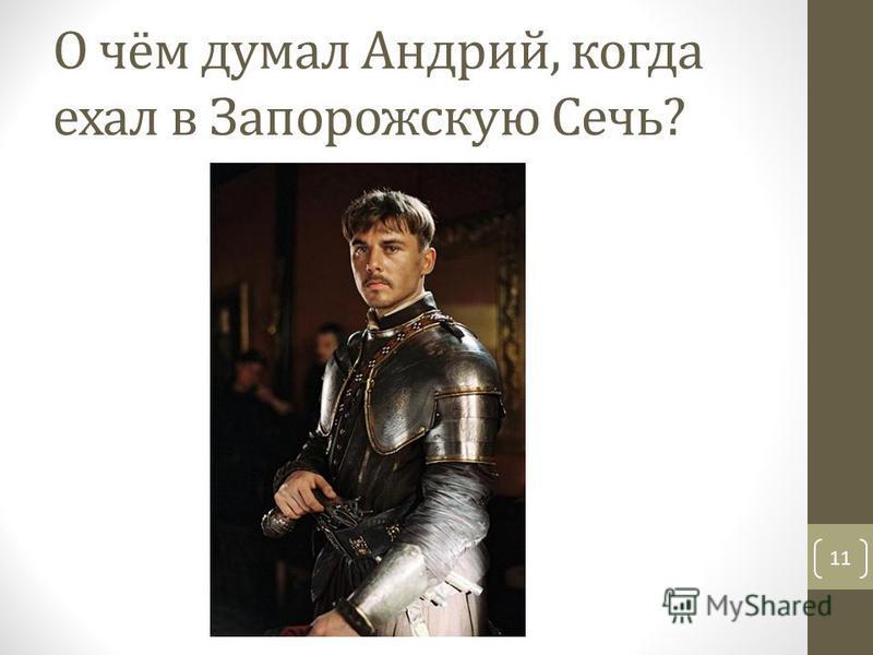 О чём думал Андрий, когда ехал в Запорожскую Сечь? 11