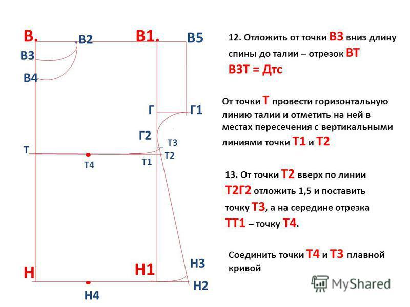 В.В1. Н1.В2 В4 Г В5 Г1 Г2 Н Н3 Н4 12. Отложить от точки В3 вниз длину спины до талии – отрезок ВТ В3Т = Дтс От точки Т провести горизонтальную линию талии и отметить на ней в местах пересечения с вертикальными линиями точки Т1 и Т2 Н2 13. От точки Т2