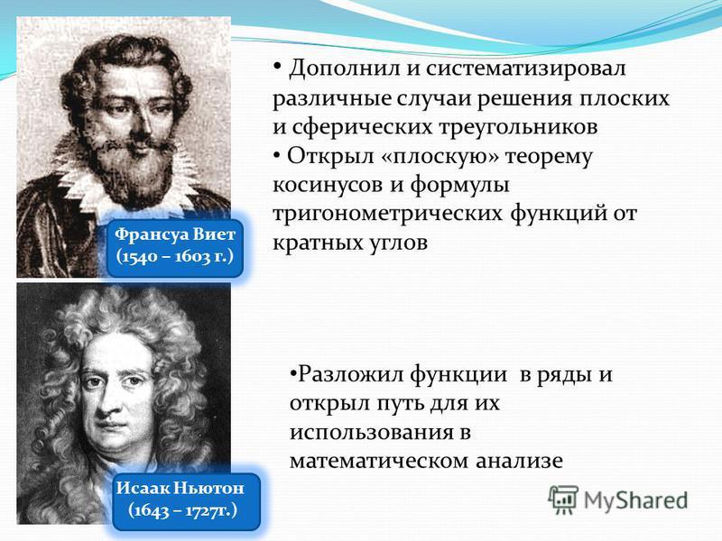 Франсуа Виет (1540 – 1603 г.) Исаак Ньютон (1643 – 1727 г.) Дополнил и систематизировал различные случаи решения плоских и сферических треугольников Открыл «плоскую» теорему косинусов и формулы тригонометрических функций от кратных углов Разложил фун