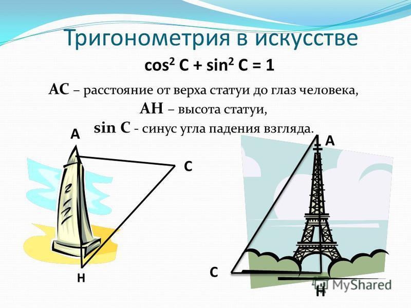 Тригонометрия в искусстве cos 2 С + sin 2 С = 1 АС – расстояние от верха статуи до глаз человека, АН – высота статуи, sin С - синус угла падения взгляда. А С Н А С Н