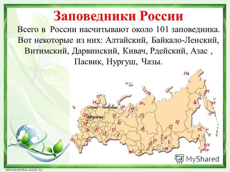 Заповедники России Всего в России насчитывают около 101 заповедника. Вот некоторые из них: Алтайский, Байкало-Ленский, Витимский, Дарвинский, Кивач, Рдейский, Азас, Пасвик, Нургуш, Чазы.