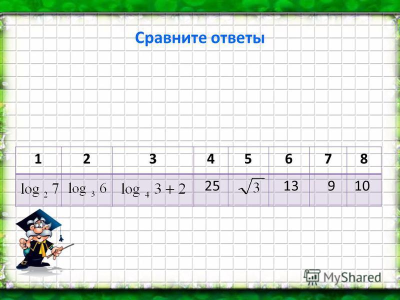 Сравните ответы 12345678 25 13 9 10