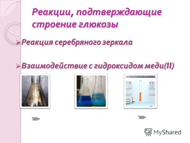 Реакции, подтверждающие строение глюкозы Реакция серебряного зеркала Реакция серебряного зеркала Взаимодействие с гидроксидом меди (II) Взаимодействие с гидроксидом меди (II)