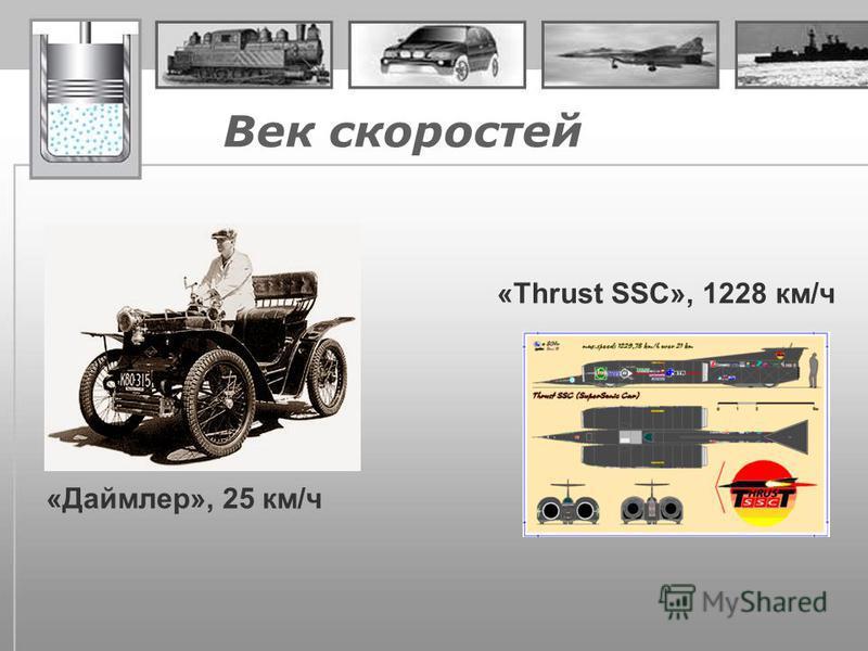 Век скоростей «Даймлер», 25 км/ч «Thrust SSC», 1228 км/ч
