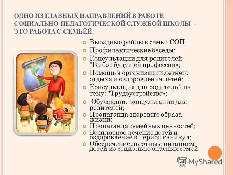 ОДНО ИЗ ГЛАВНЫХ НАПРАВЛЕНИЙ В РАБОТЕ СОЦИАЛЬНО-ПЕДАГОГИЧЕСКОЙ СЛУЖБОЙ ШКОЛЫ - ЭТО РАБОТА С СЕМЬЁЙ. Выездные рейды в семьи СОП; Профилактические беседы; Консультации для родителей