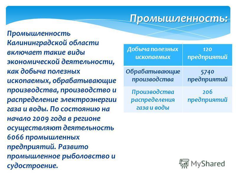 Промышленность Калининградской области включает такие виды экономической деятельности, как добыча полезных ископаемых, обрабатывающие производства, производство и распределение электроэнергии газа и воды. По состоянию на начало 2009 года в регионе ос