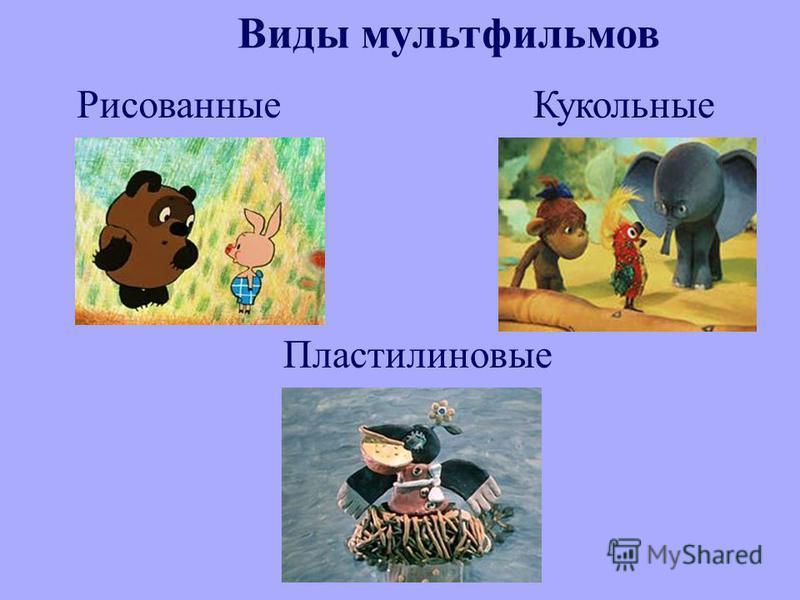 Виды мультфильмов Рисованные Кукольные Пластилиновые