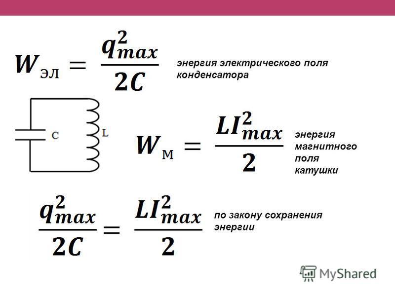 энергия электрического поля конденсатора энергия магнитного поля катушки по закону сохранения энергии