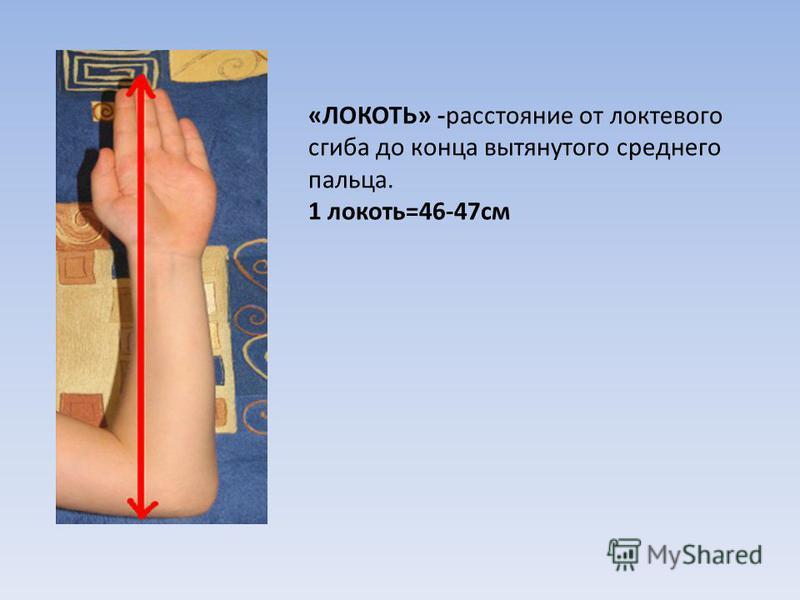 «ЛОКОТЬ» -расстояние от локтевого сгиба до конца вытянутого среднего пальца. 1 локоть=46-47 см