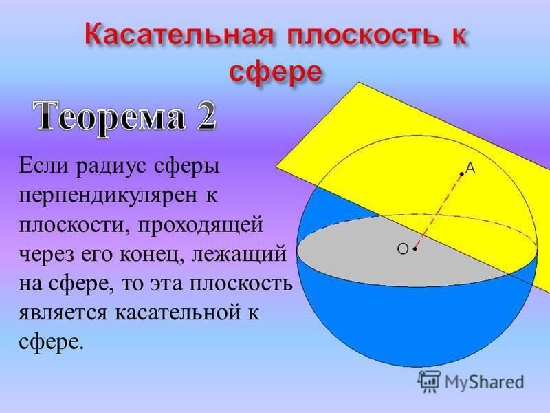 Если радиус сферы перпендикулярен к плоскости, проходящей через его конец, лежащий на сфере, то эта плоскость является касательной к сфере.