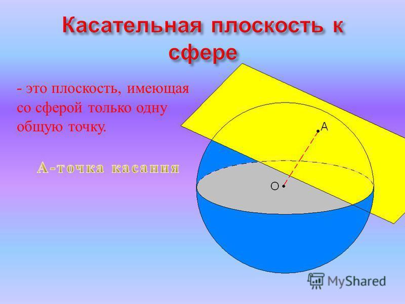 - это плоскость, имеющая со сферой только одну общую точку.