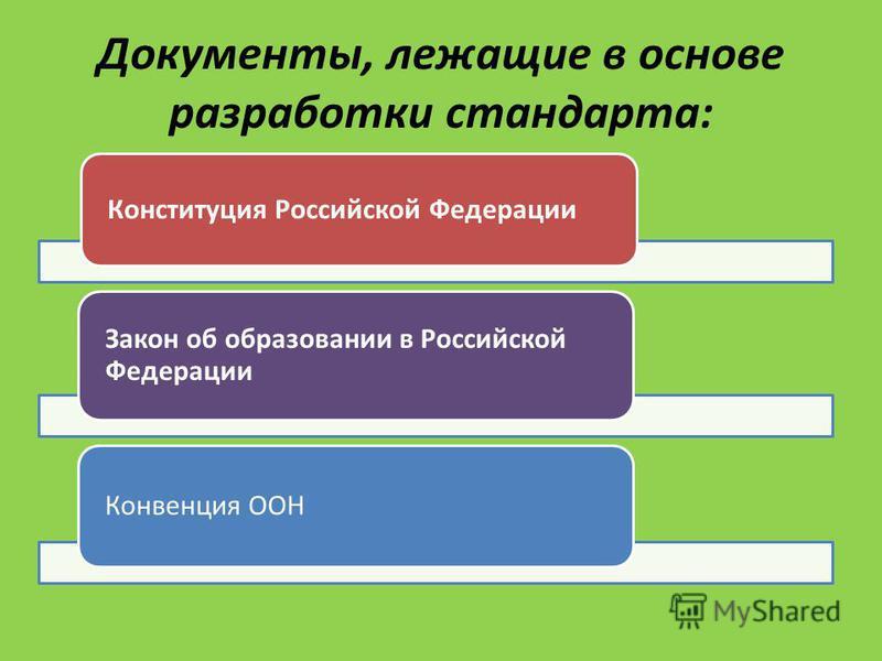 Документы, лежащие в основе разработки стандарта: Конституция Российской Федерации Закон об образовании в Российской Федерации Конвенция ООН